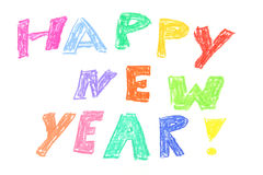 Happy new year. Colorful inscription hand painted with pastel crayons : Happy new year Stock Photography