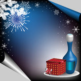 Happy New Year. Colorful illustration with fireworks, snowflakes, fir branch, red gift box and a blue bottle of champagne. Happy New Year Royalty Free Stock Photos
