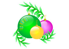 Happy new year. Congratulation post card with a spheres   image Stock Photos