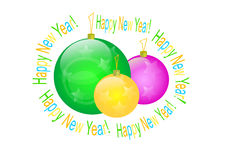 Happy new year. Congratulation post card with a spheres   image Stock Image