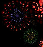 Happy New Year!. Illustration of exploding fireworks in various colors Stock Photo