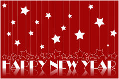 Happy new year. Background, white stars on red background Royalty Free Stock Photo