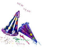 Happy New Year. Hats isolated on white background Stock Photos