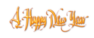Happy New Year. Handwritten digital calligraphy, on white background. Element for greetings card Stock Images