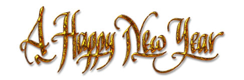 Happy New Year. Handwritten digital calligraphy, on white background. Element for greetings card Royalty Free Stock Photography