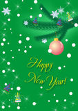 Happy New Year. Card, on green background, vector file Royalty Free Stock Photography