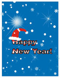 Happy New Year. Card, on blue background, with Santa hat, vector file Stock Photos