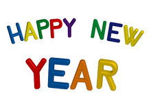 Happy new year. Colorful happy new year sign in 3D royalty free illustration