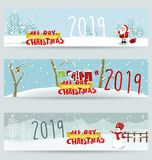 Banner Happy new year 2019 and Merry Christmas. Happy New Year 2019. Chienese New Year, Year of the Pig vector illustration