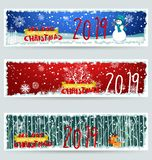 Banner Happy new year 2019 and Merry Christmas. Happy New Year 2019. Chienese New Year, Year of the Pig stock illustration