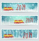 Banner Happy new year 2019 and Merry Christmas. Happy New Year 2019. Chienese New Year, Year of the Pig royalty free illustration