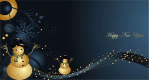 Happy New Year. Blue and gold Stock Images