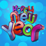 Happy New Year. A 3D composition of the word Happy new year in a glossy and candy like text Stock Illustration