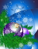 Happy New Year. Branch of xmas tree with decoration balls and snowflakes on the gradient background from dark blue to white vector illustration