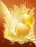 Happy New Year. Branch of xmas tree with decoration balls and snowflakes on the gradient background from dark red to white royalty free illustration