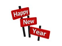 Happy new year. Sign isolated over white Stock Images