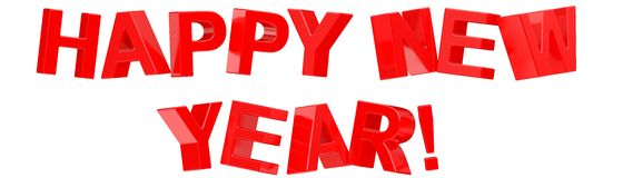 Happy New Year. 3d Happy New Year text on white background Royalty Free Stock Photography