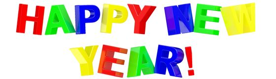Happy New Year. 3d Happy New Year text on white background Royalty Free Stock Images