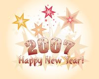 Happy new year. Illustarion for new 2007 year Royalty Free Stock Photos