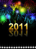 Happy new year. 2011 with fireworks Royalty Free Stock Photos