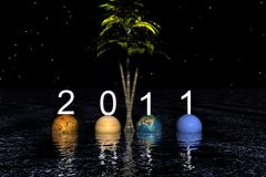 Happy new year. 2011 and planets Royalty Free Stock Photography