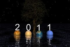 Happy new year. Happy new yaer and planets Stock Illustration