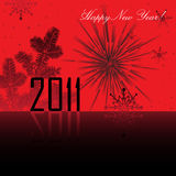 Happy New Year. Abstract colorful illustration with, snowflakes, fir branch and the number 2011 written with black letters. New Year's theme Royalty Free Stock Photos