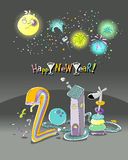 Happy new year!. New year 2011 funky cartoon greeting card Royalty Free Stock Images