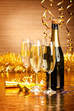 Happy New Year. Champagne and party decoration stock photos