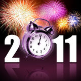 Happy new year. Jumping alarm clock at midnight of new year eve with fireworks vector illustration