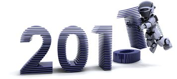 Happy New Year!. 3D render of robot depicting Bringing the new year in Stock Image