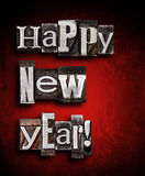 Happy new year. Made from letterpress Stock Image