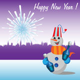 Happy New Year. Abstract colorful background with building silhouettes of a town, fireworks and a happy snowman holding two bottles of champagne. New Year design Royalty Free Stock Photos