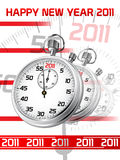 Happy New Year. Background with stopwatch. Vector illustration Royalty Free Stock Image