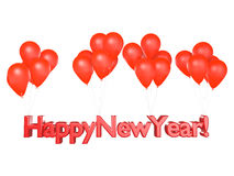 Happy New Year. Floating with Red Balloons Stock Image