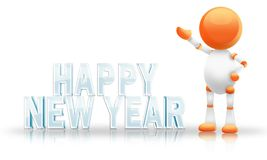 Happy New Year. Shiny happy new year writing witha cute 3d robot Stock Photos