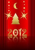 Happy New Year. 2012 on red background with stars, tree and moon Stock Image