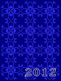 Happy New Year. 2012 blue background with pattern stock illustration