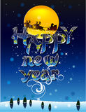 Happy new year 2. Inscription Happy new year against the night sky vector illustration