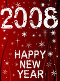 Happy New Year 2. Festive New Year Background with Shining point lights, swirls and snowflakes on a red fading background with Text stock illustration