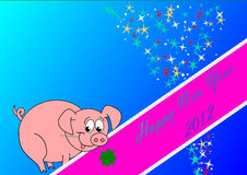Happy New Year. Card with piggy - blue background Stock Photo