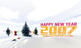 Happy New Year 2007. Happy New Year wallpaper with  fir tree and balls Royalty Free Stock Photos
