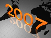 HAPPY NEW YEAR 2007. Happy New years 2007 on a world map Stock Photography