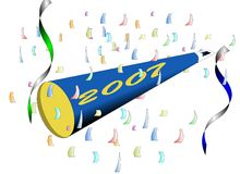Happy New Year - 2007. Celebration horn and confetti for ringing in the new year 2007 Royalty Free Stock Photo
