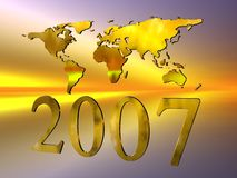 Happy new year 2007. Happy New years 2007 with a world map against a colorful exploding firework sky, 3D illustration, clipping path Stock Image