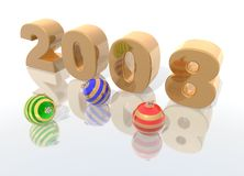 Happy new year 2008. A 3d render to celebrate the new year 2008 Royalty Free Stock Images