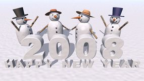 Happy New Year 2008. A 3d render of some snowmen celebrating the neay year 2008 Royalty Free Stock Images