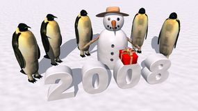 Happy New Year 2008. A 3d render of penguins a,d snowman celebrating the neay year 2008 Stock Images
