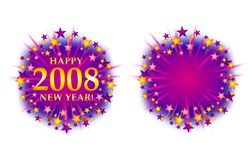 Happy New Year 2008 Fireworks Logo 2. A clip art illustration of Happy New Year Banners, Logos or Labels decorated with colorful stars and fireworks - your Royalty Free Stock Photography