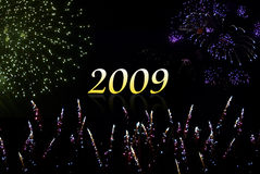 Happy New year 2009. With fireworks Royalty Free Stock Images